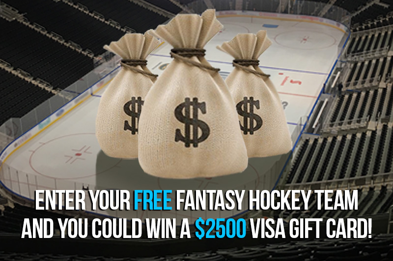 Enter your free fantasy hockey team and you could win $2500 in VISA gift cards!